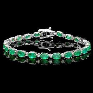 Jewelry - 14.60ct Emerald & Diamond 14KW Gold Bracelet